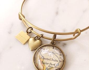Crested Butte Bracelet - Map Bracelet - Crested Butte Jewelry - Colorado Bracelet - Colorado Jewelry - Charm Bracelet - Travel - Wanderlust