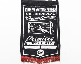 Vintage Soccer Banner, Soccer Football Association, 1967