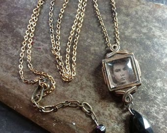 Hannah age 25 ~ vintage watch case tintype necklace ~ mourning portrait reliquary with black glass drop OOAK