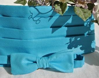 Boys or Women Bow Tie Set , Bowtie and Cummerbund , Cummerband , Cumberbund , Robins Egg Blue Wedding , Gift Set