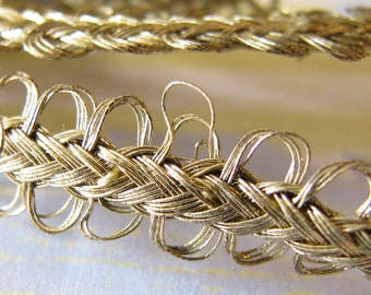 Luxurious Vintage Edging...Narrow Old Golden Braid & Loop Trim