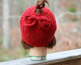 Womens crochet hats, Messy bun crochet with bow,  pony tail crochet hat, women crochet hat, womens  messy bun hat, womens hats,  mom gift