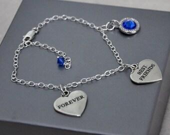 Friendship Bracelet,  Best Friend Bracelet,  Best Friends Forever,  Custom Bracelet, Sterling Silver,  Swarovski Crystals,  Personalized