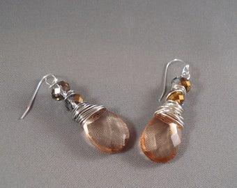 Champagne earrings, faceted crystal earrings, hand wrapped earrings, romantic earrings