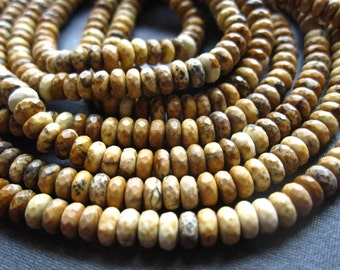 Picture Jasper beads faceted rondelles 4mm center drilled stone beads 7 inches