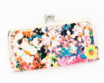 Abstract Floral Cell Phone Wallet Clutch with Kisslock Frame Closure in Orange and Pink Floral Printed Cotton