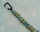 Golf Bead Stroke Counter Turquoise Lime Green Silver Carabiner Ten Beads