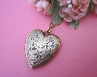 Vintage Heart Locket Necklace on gold filled chain