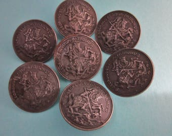 Antique Metal Picture Buttons Saint George slaying a Dragon