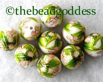 WHOLESALE 9 Japanese Tensha Beads LILY of the VALLEY on White 12mm