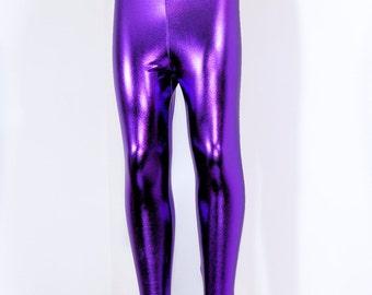 Shiny Metallic Purple Stretch Lycra Leggings Pants Child Toddler Kids All Sizes MTCoffinz