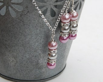 Bridesmaid Jewelry Set, Purple and Grey Necklace and Earrings Set, Mauve and Silver Jewelry, Spring Wedding, Purple Bridesmaid