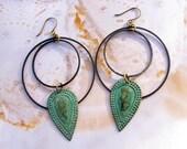 Geometric hipster earrings black hoop earrings Patina jewelry