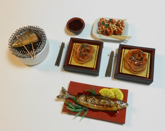 Miniature Japanese dinner for 2, Dollhouse, soba, noodles, takoyaki, mackerel, bento, hibachi, grilled fish