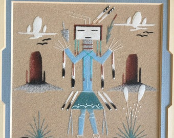 Sand Painting Native American Indian Folk Art Framed and Matted 'Yei Female' Southwestern Art