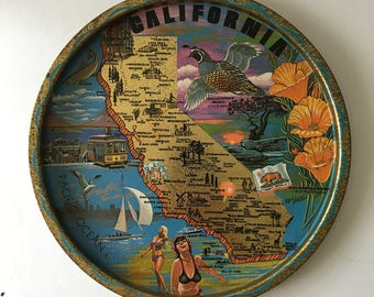 Vintage California Tray Barware Serving Travel Souvenir 1960s Retro State Collectible Colorful Design