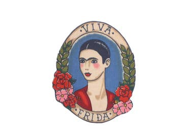 Viva Frida Mexican Art Iron On Patch Applique DIY No Sew