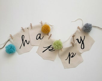 Fabric Scrap inspiration Word Happy prayer Flags, Hand painted lettered happy flag, pennant, Fabric Banner, Happy Party Photo Prop Flags