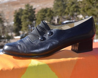 vintage 90s women's shoes ROS HOMMERSON black leather heels loafers 8.5 wide edwardian