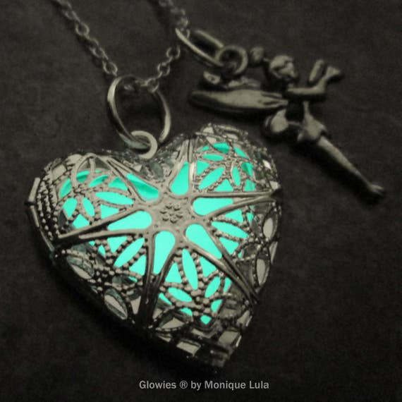 Heart of Fairy Tinkerbell inspired glowing necklace