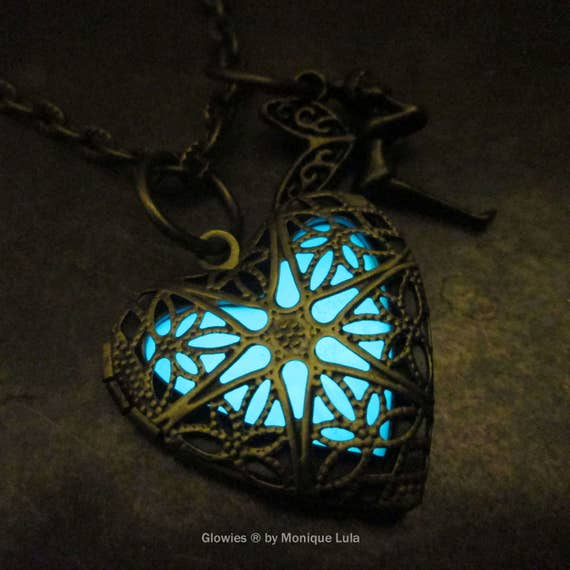 Heart of the Fairy Glow Locket Steampunk Magic Wings Tinkerbell