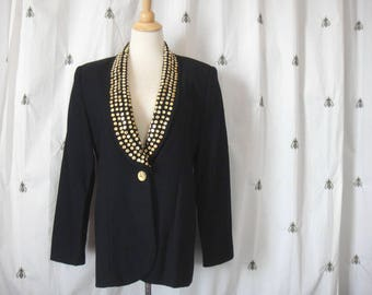 Vintage Gold Studded Black Womens Wool Blazer, Jacket, Removable Lapel, One Button, Focus 2000 by Charles Uluech, Size 10, Large