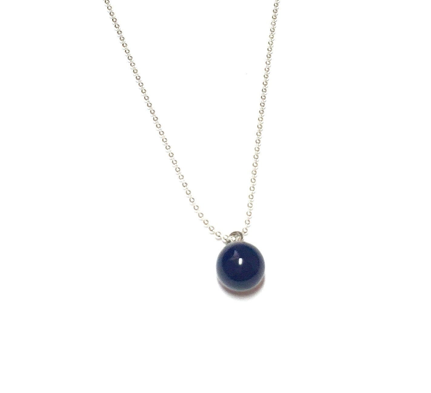 Navy Blue Drop Necklace Navy Blue Charm Pendant Simple