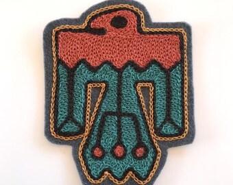 Thunderbird Chain-stitch Embroidered Felt Patch - Iron On Patch, Southwest, Desert