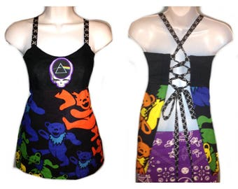 Grateful Dead Apron top,ready to ship, Dancing Bear Pink Floyd ApronTop Grateful dead patchwork tops, festival top