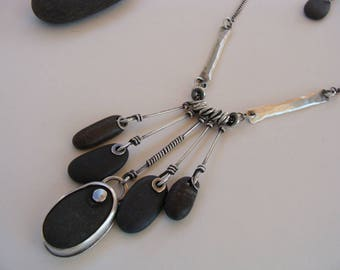 Silver and Black Beach Stone Artisan Oxidized OOAK Necklace