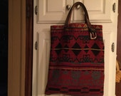 Indian Blanket Tote Bag With Leather Handles Special order for Elaine
