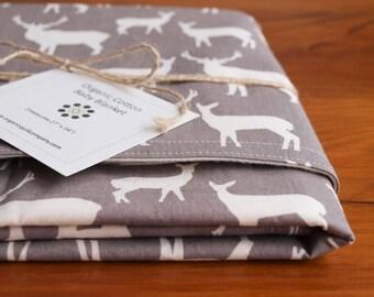 Gray Deer Baby Blanket; Modern Woodland Receiving Blanket; Handmade, Organic Stroller Blanket Boy, Girl; Baby Shower Gift; Elk Family Pewter