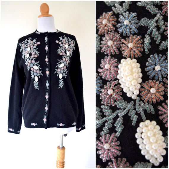 SPRING SALE/ 20% off Vintage 50s 60s Beaded Floral Cardigan (size medium, large)