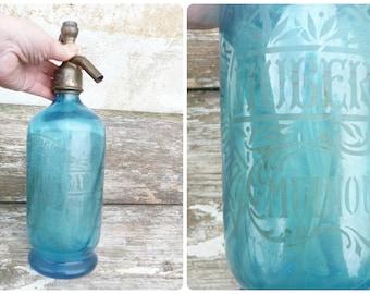 Vintage Antique 1900/1930 French acid etched soda siphon seltzer bottle blue /swirled shape/ Limonaderie /Mulhouse/East of France