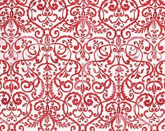Dena Designs Fabric, Merry Mistletoe, Scrollwork in Red White, cotton quilting fabric -  HALF YARD - SALE