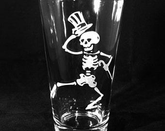 Grateful Dead Pint Glass Dancing Skeleton Sandblast Etched Beer or Iced Tea Pub