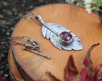 Feather Almandite Garnet necklace - sterling silver
