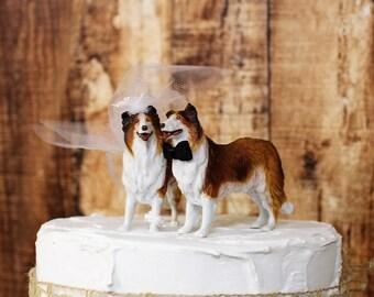Dog Cake Topper, Border Collie Wedding Cake Topper, Animal Cake Topper, Dog Lover Cake Topper, Grooms Cake, Mans Best Friend Cake Topper