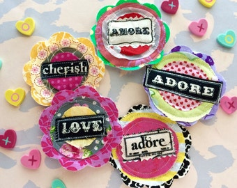 Fabric Valentine's Day Words of Love Embellishments