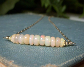 Ethiopian Opal Necklace, Curved Gemstone Bar Necklace Fiery Honey Yellow Opal Necklace, Goldfilled Gemstone Necklace, Minimalist Necklace