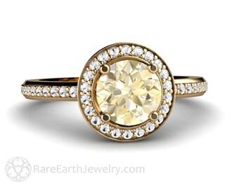 14K Lemon Quartz Ring Diamond Halo Engagement Ring Lemon Citrine 14K Gold Custom Engagement Ring