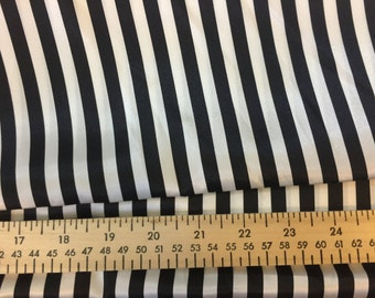 """Fabric destash huge cut of black and white stripe shiny poly fabric 5 yards at 59"""" wide"""