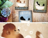 Pomeranian bath soap Company dog artwork on gallery wrapped canvas by Stephen Fowler indicate COLOR