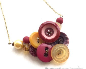 Magenta and Mustard Button and Bead Necklace