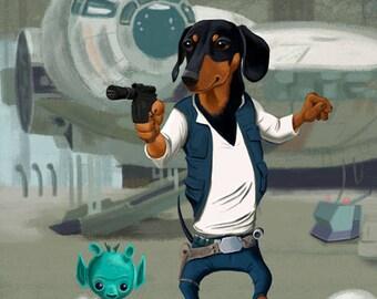 Dachshund art print, Dachsund Han Solo, Dog Art Print