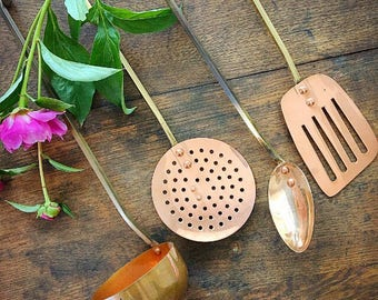 You Just Got Served... Vintage Copper Kitchen Utensils Serving Kitchenware Farmhouse Decor Boho Spoon Spatula Ladle Flat Slotted Straining