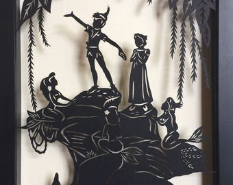 Sale 20% Off // PETER PAN and the MERMAIDS Papercut in Shadow Box - Hand-Cut Silhouette, Framed // Coupon Code SALE20