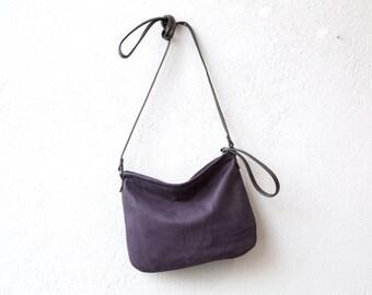 sale - Crossbody Case in lightweight soft nubuck leather - crossbody bag - with crossbody strap - small leather bag