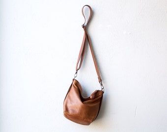 slouchy leather cross body bag - The Tiny Boho  in saddle leather - soft leather shoulder or crossbody bag