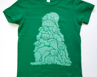 Bear pile kids shirt green 100% cotton USA made